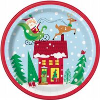 "Colourful Santa 9"" Paper Plates (8)"
